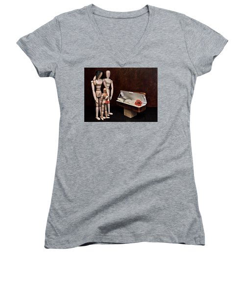 Women's V-Neck T-Shirt (Junior Cut) featuring the photograph The Passing Of Grandpa Woody by Mark Fuller