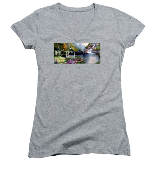 The Path Least Fallowed 2 Women's V-Neck T-Shirt (Junior Cut) by Ron Chambers