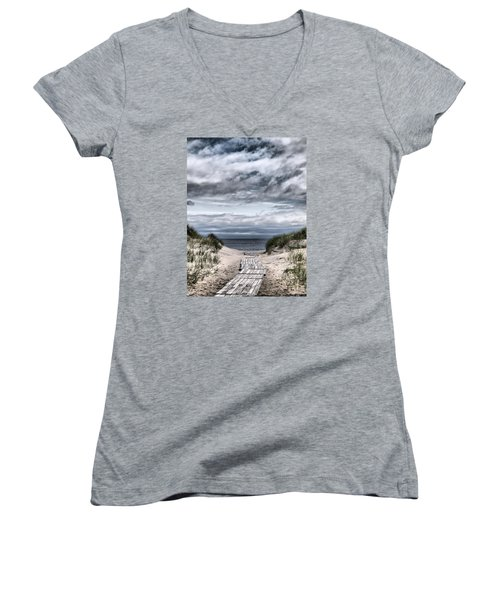 The Path To The Beach Women's V-Neck T-Shirt (Junior Cut) by Jouko Lehto