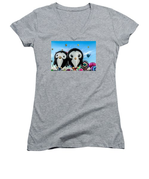 Puddles And Splash - The Penguin Hot Air Balloons Women's V-Neck