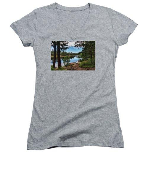Women's V-Neck T-Shirt featuring the photograph The Perfect Fishing Spot  by Saija Lehtonen