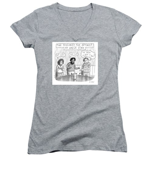 The Pessimist The Optimist And Uncle Stan Women's V-Neck