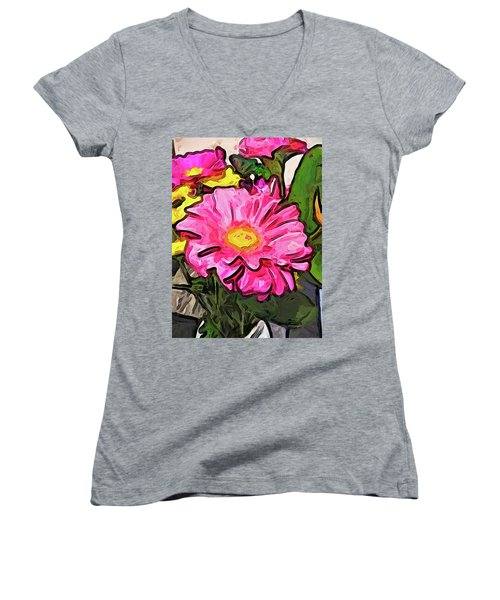 The Pink And Yellow Flowers With The Big Green Leaves Women's V-Neck (Athletic Fit)