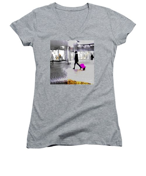 Women's V-Neck T-Shirt (Junior Cut) featuring the photograph The Pink Bag by LemonArt Photography