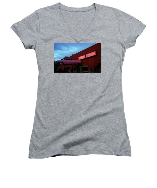 The Pink Cadillac Diner Women's V-Neck (Athletic Fit)