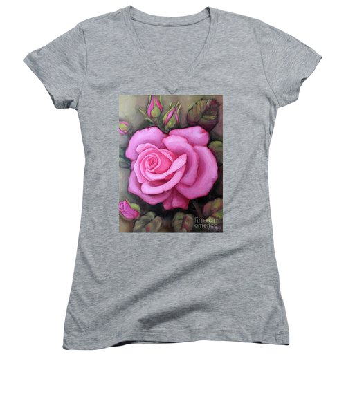 The Pink Dream Rose Women's V-Neck (Athletic Fit)