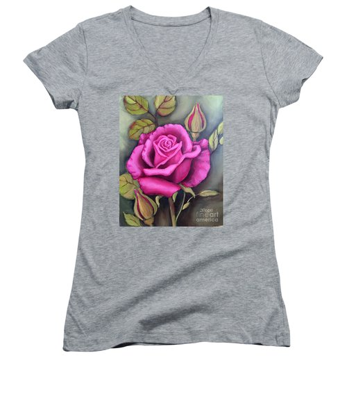 The Pink Rose Women's V-Neck T-Shirt (Junior Cut) by Inese Poga