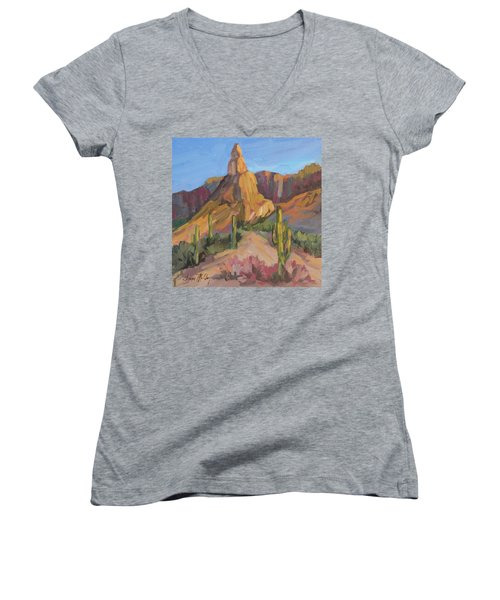 Women's V-Neck T-Shirt (Junior Cut) featuring the painting The Pinnacle At Goldfield Mountains by Diane McClary
