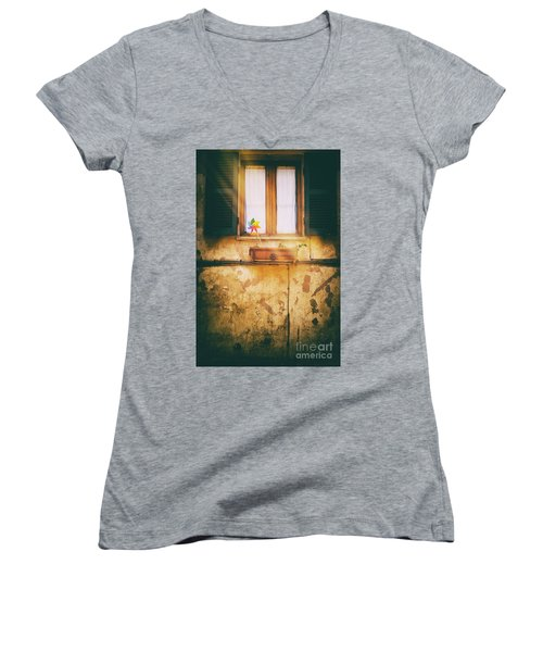 Women's V-Neck T-Shirt featuring the photograph The Pinwheel by Silvia Ganora