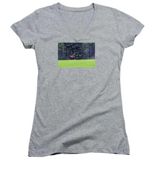 The Player Women's V-Neck T-Shirt (Junior Cut) by Keith Armstrong