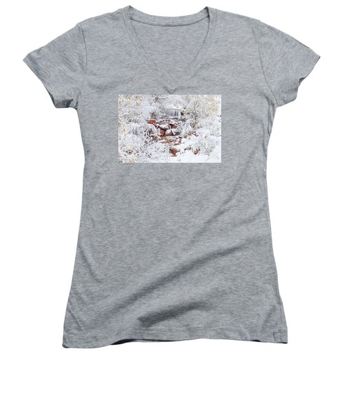 The Poetic Beauty Of Freshly Fallen Snow  Women's V-Neck T-Shirt