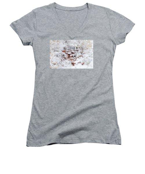 The Poetic Beauty Of Freshly Fallen Snow  Women's V-Neck T-Shirt (Junior Cut)