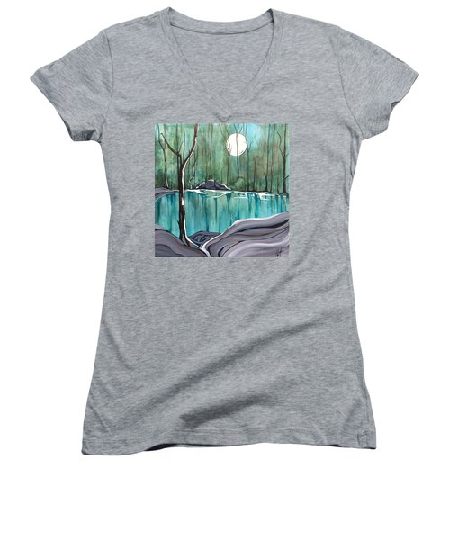 The Pond Women's V-Neck T-Shirt (Junior Cut) by Pat Purdy