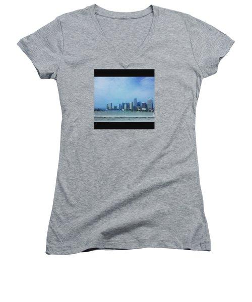 Miami Cityscape Women's V-Neck T-Shirt