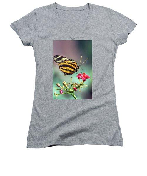 Women's V-Neck T-Shirt featuring the photograph The Postman Longwing  by Saija Lehtonen