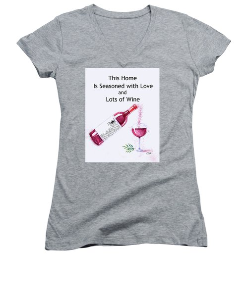 Women's V-Neck T-Shirt (Junior Cut) featuring the mixed media The Pour by Colleen Taylor