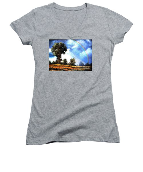 Women's V-Neck T-Shirt (Junior Cut) featuring the painting The Promise  by Hazel Holland
