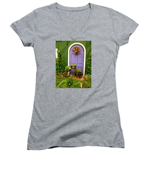 The Purple Door Women's V-Neck T-Shirt (Junior Cut)