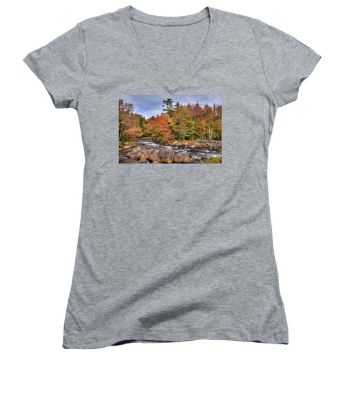 Women's V-Neck T-Shirt (Junior Cut) featuring the photograph The Rapids On The Moose River by David Patterson