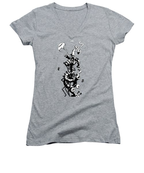 The Rat Penthouse Women's V-Neck T-Shirt (Junior Cut) by Kim Gauge