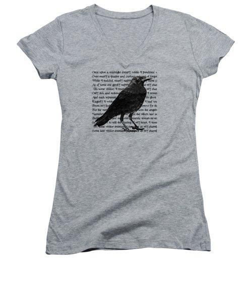 The Raven Poem Art Print Women's V-Neck T-Shirt (Junior Cut) by Sandra McGinley