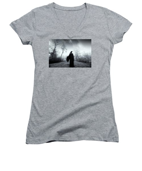 Women's V-Neck T-Shirt (Junior Cut) featuring the photograph The Reaper Moving Through Mist And Fog by Christian Lagereek
