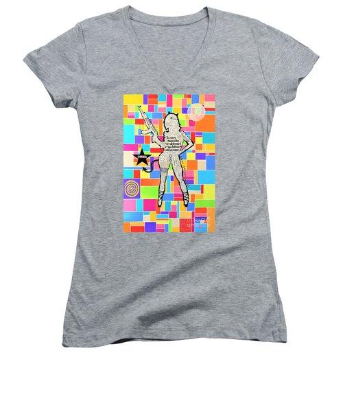 The Rebel Women's V-Neck T-Shirt (Junior Cut) by Jeremy Aiyadurai