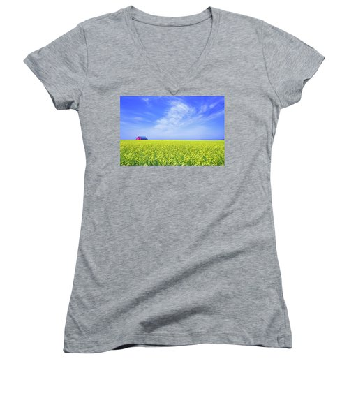 Women's V-Neck T-Shirt (Junior Cut) featuring the photograph The Red Barn by Keith Armstrong