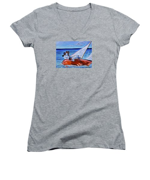 The Red Boat Women's V-Neck T-Shirt (Junior Cut) by Laura Forde