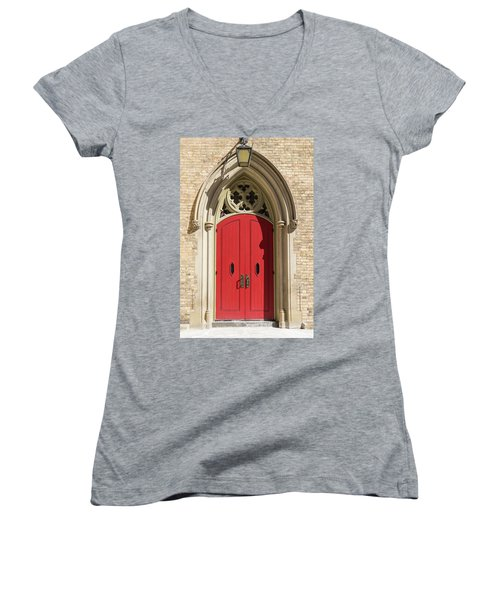 The Red Church Door. Women's V-Neck (Athletic Fit)