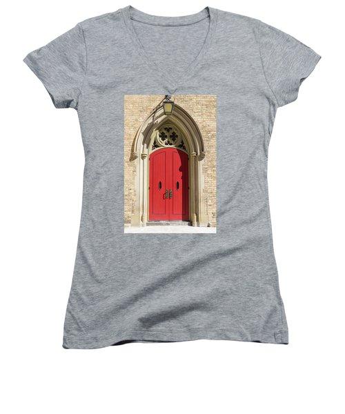 The Red Church Door. Women's V-Neck T-Shirt