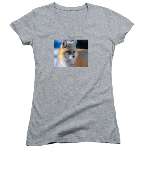 Women's V-Neck T-Shirt (Junior Cut) featuring the photograph The Red Fox Portrait In Snow by Yeates Photography