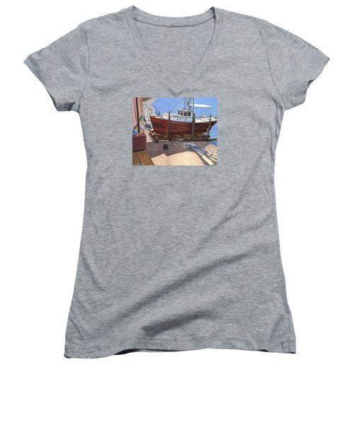 Women's V-Neck T-Shirt (Junior Cut) featuring the painting The Red Troller by Gary Giacomelli