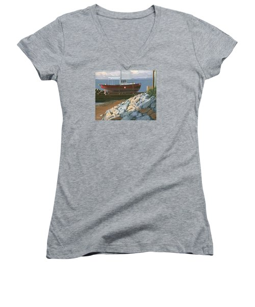 Women's V-Neck T-Shirt (Junior Cut) featuring the painting The Red Troller Revisited by Gary Giacomelli
