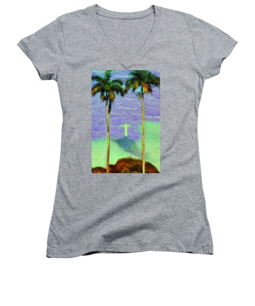 The Redeemer Women's V-Neck T-Shirt (Junior Cut) by Caito Junqueira