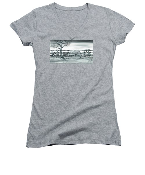 The Rematch Women's V-Neck T-Shirt (Junior Cut) by Kenneth Clarke