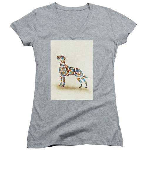 Women's V-Neck T-Shirt featuring the painting The Rhodesian Ridgeback Dog Watercolor Painting / Typographic Art by Inspirowl Design