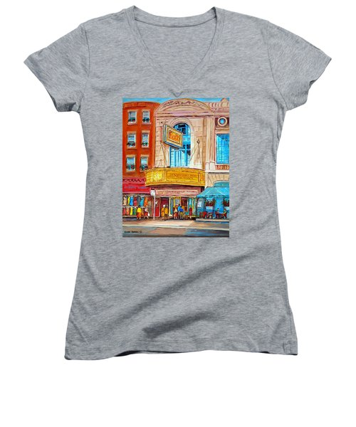 Women's V-Neck T-Shirt (Junior Cut) featuring the painting The Rialto Theatre Montreal by Carole Spandau