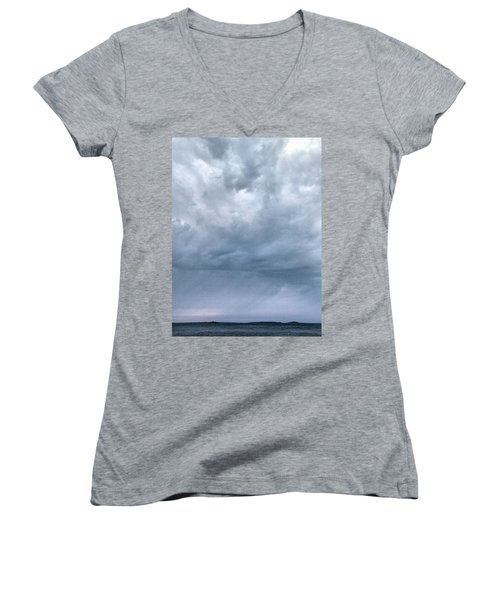 Women's V-Neck T-Shirt (Junior Cut) featuring the photograph The Rising Storm by Jouko Lehto