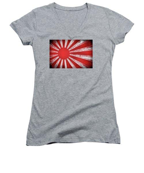 The Rising Sun Women's V-Neck T-Shirt (Junior Cut) by JC Findley