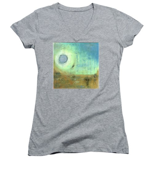 Women's V-Neck T-Shirt (Junior Cut) featuring the painting The Rising Sun by Michal Mitak Mahgerefteh