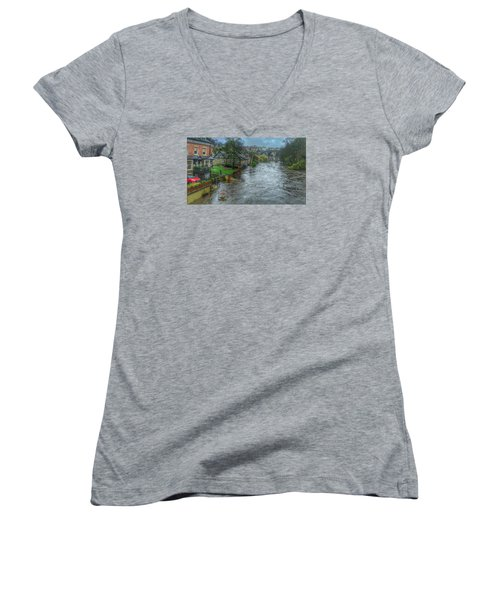 The River Nidd In Flood At Knaresborough Women's V-Neck T-Shirt (Junior Cut) by RKAB Works