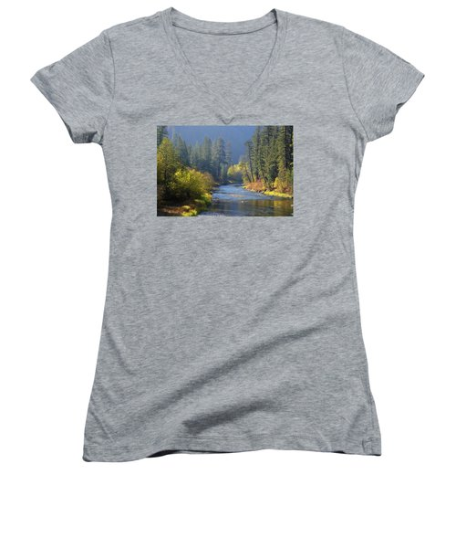 The River Runs Through Autumn Women's V-Neck T-Shirt