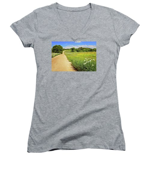 The Road Home Women's V-Neck T-Shirt (Junior Cut) by Lynn Bauer