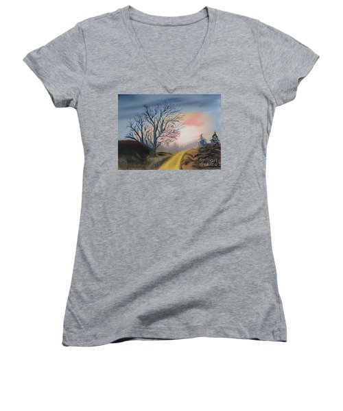 Women's V-Neck T-Shirt (Junior Cut) featuring the painting The Road To... by Rod Jellison