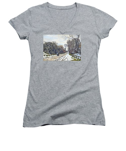 The Road To The Farm Of St. Simeon Women's V-Neck T-Shirt (Junior Cut) by Monet
