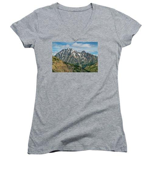Women's V-Neck T-Shirt (Junior Cut) featuring the photograph The Rock At Mount Stuart by Ken Stanback