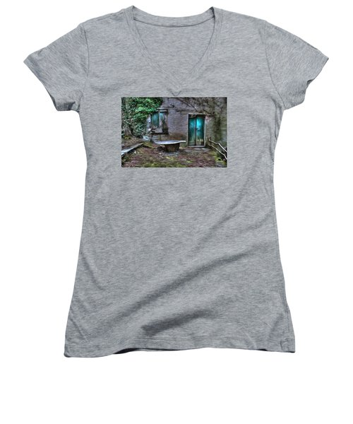 The Round Table House In The Abandoned Village Of The Ligurian Mountains High Way Women's V-Neck