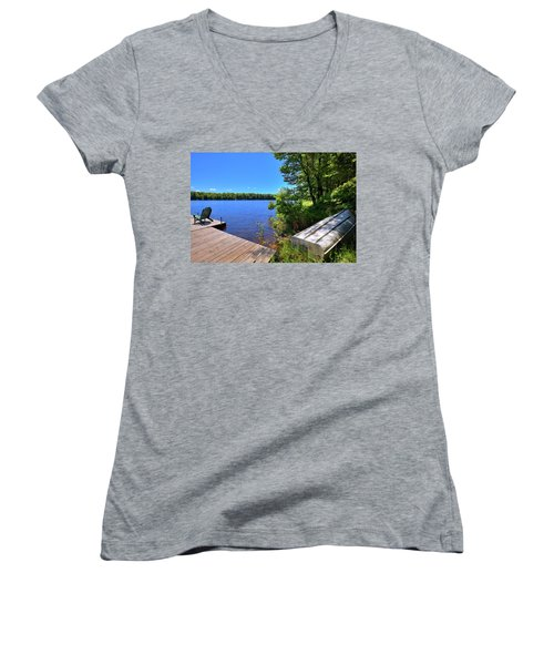 Women's V-Neck T-Shirt (Junior Cut) featuring the photograph The Rowboat On West Lake by David Patterson