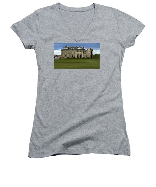 The Royal And Ancient St. Andrews Scotland Women's V-Neck T-Shirt (Junior Cut) by Sally Ross